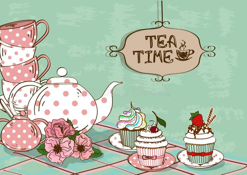 Illustratie met stilleven van theestel en cupcakes stock illustratie