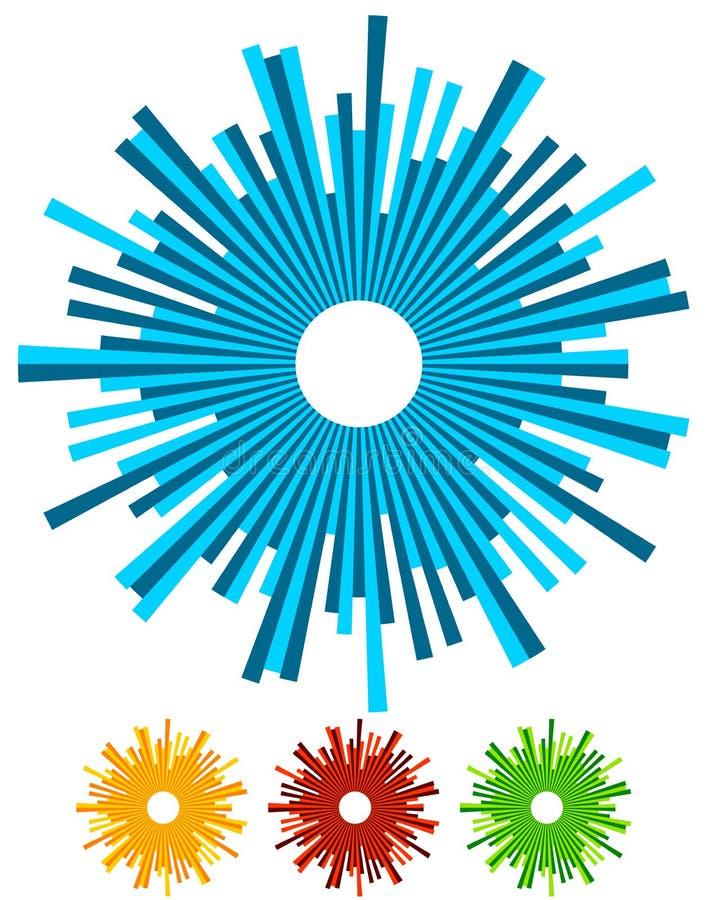 Illustratie met stralen, radiale stralen, - uitstralend lijnen Abstrac vector illustratie