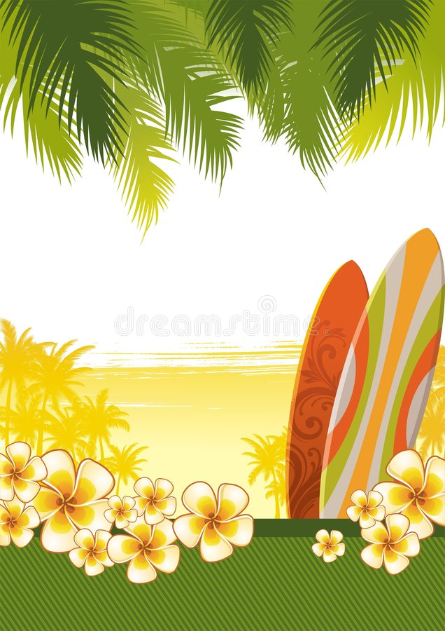 Illustratie met surfplanken stock illustratie