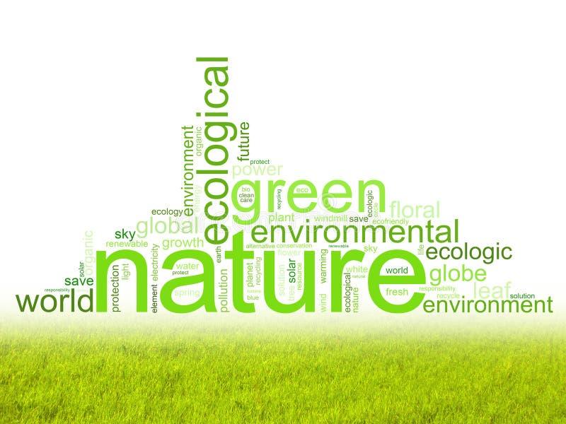 Illustratie met termijnen zoals natur of milieu stock illustratie