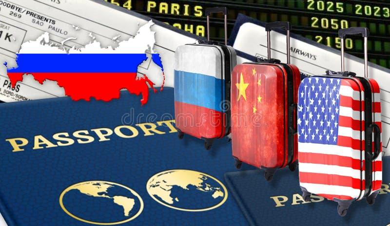 Illustratie met twee internationale paspoorten, drie koffers met Russische vlaggen, Amerikaans en Chinees, kaartjes en de vlag va stock afbeeldingen
