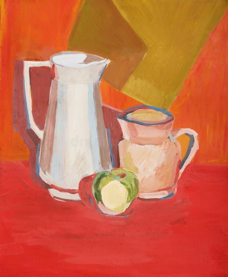Illustratie met twee waterkruiken en een één groene appel in warm c vector illustratie