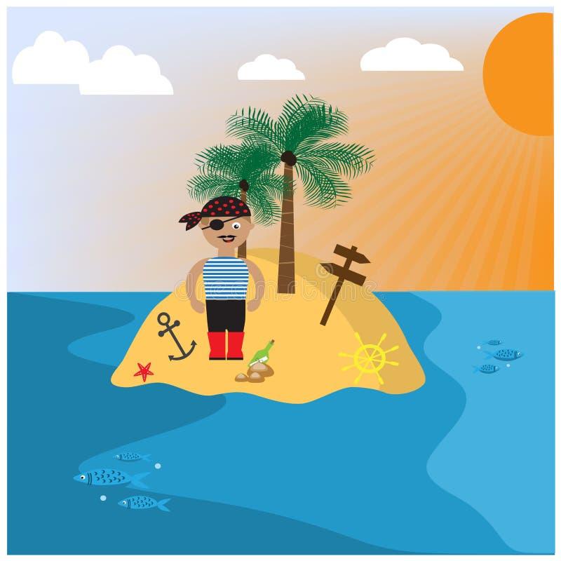 Illustratie met verlaten eiland en piraat vector illustratie