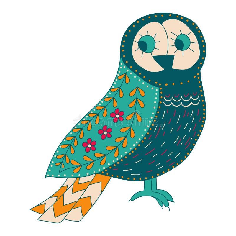 Illustratie met vogels en bloemen in een Skandinavische stijl Volks art royalty-vrije illustratie
