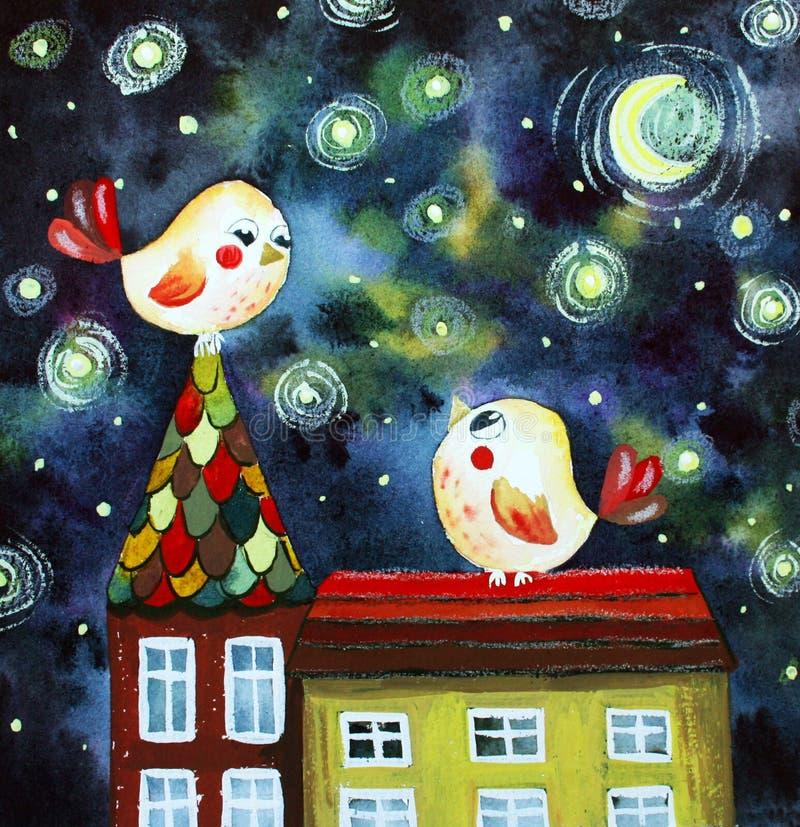 Illustratie met vogels op het dak stock illustratie