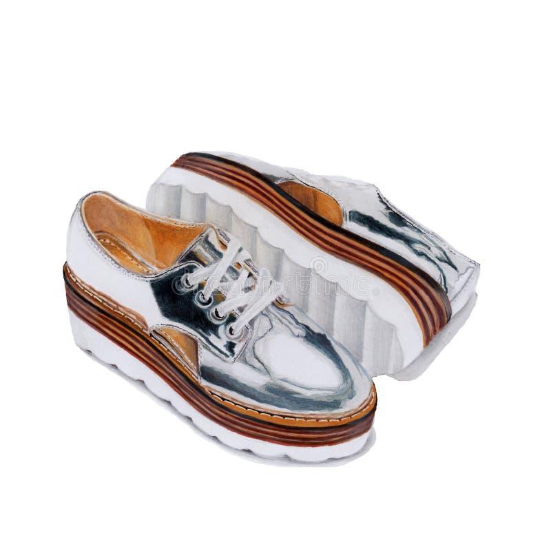 Illustratie met zilveren schoenen stock afbeelding
