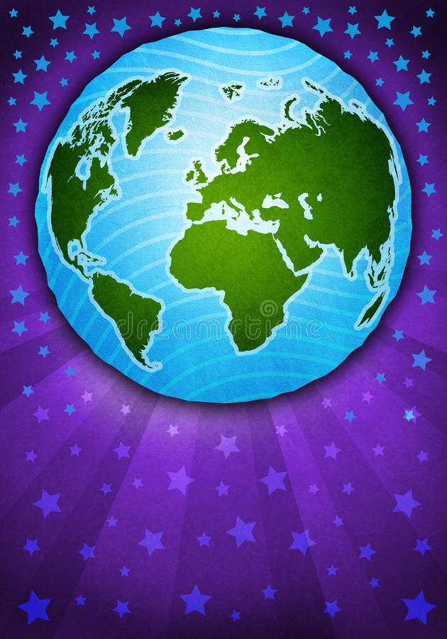 Illustratie milieuvriendelijke planeet. Denk Groen. Ecologieconcept. vector illustratie