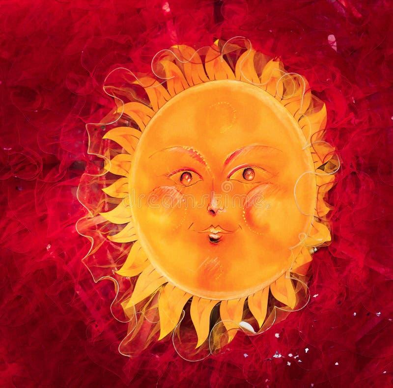 Illustratie Mollige en grappige zon royalty-vrije stock afbeelding