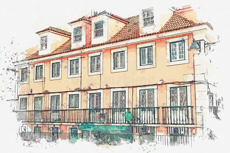 Illustratie Mooie oude huizen op de straat in Lissabon in Portugal royalty-vrije illustratie