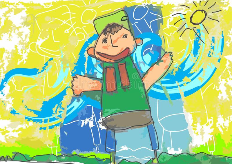 Illustratie Naif die de Jonge geitjes trekken stock afbeelding