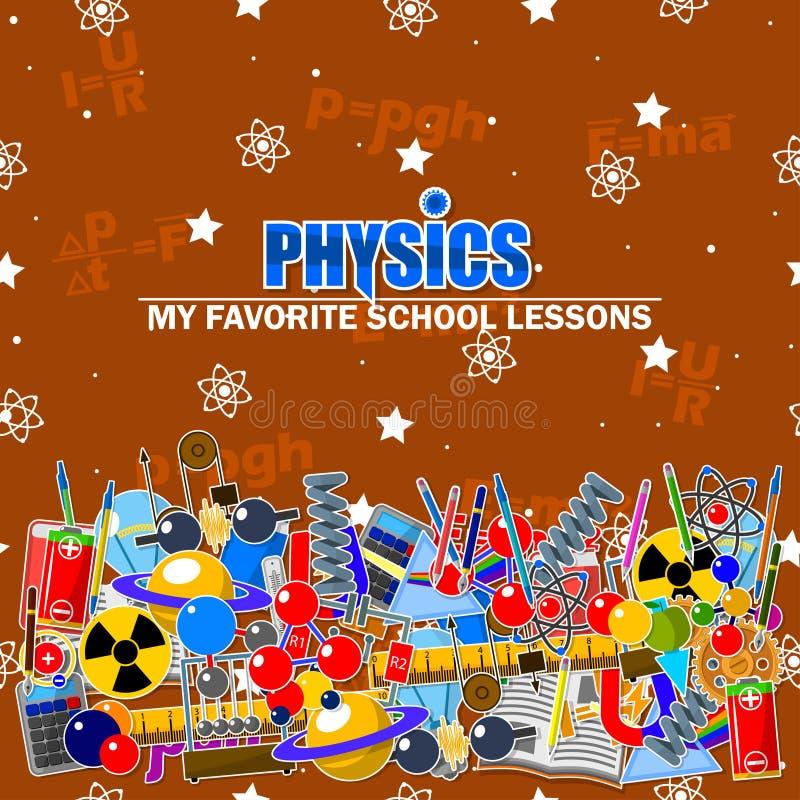 Illustratie op het thema van de fysicaschool stock foto