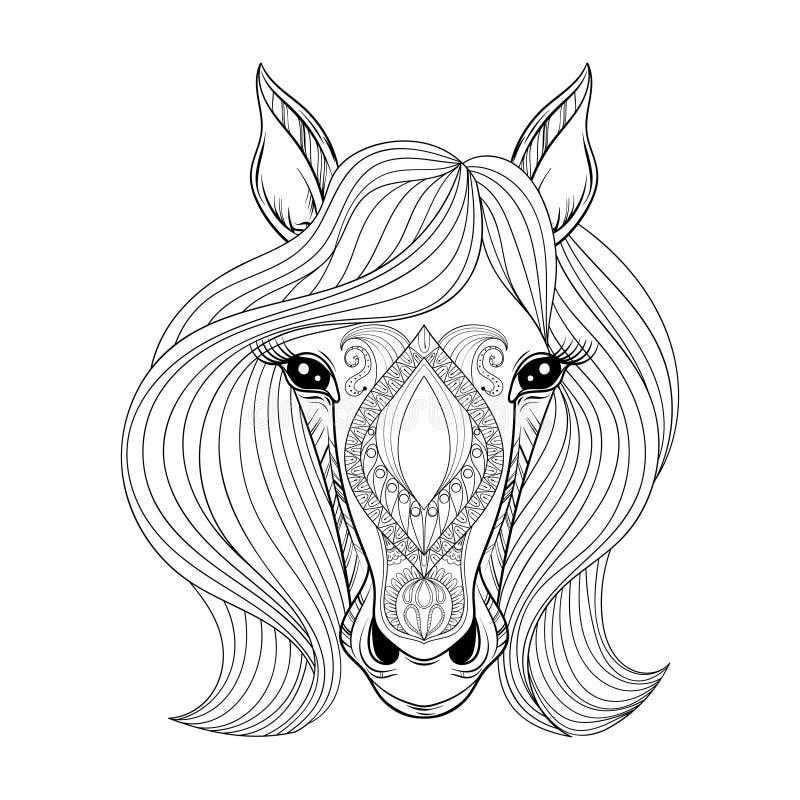 Illustratie op witte achtergrond De kleurende pagina met zentangled Paardgezicht Hand dra royalty-vrije illustratie