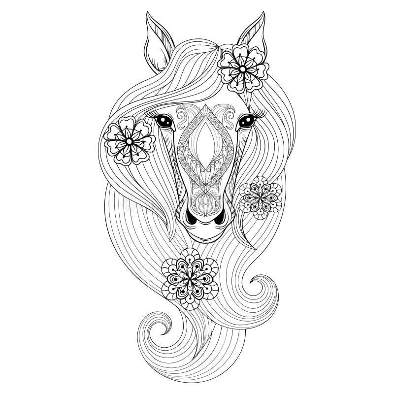 Illustratie op witte achtergrond Kleurende pagina met Paardgezicht Getrokken hand patterne royalty-vrije illustratie