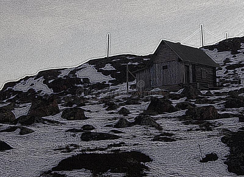 Illustratie: oud huis op de bovenkant royalty-vrije stock foto