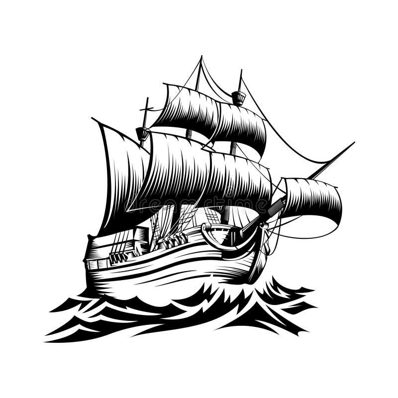 Illustratie oud schip met golven in stijl retro ontwerp vector illustratie