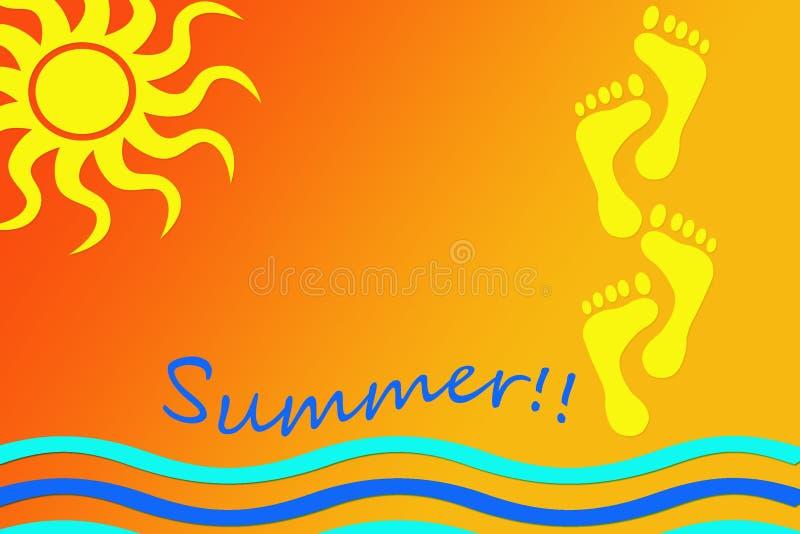 Illustratie over de zomertijd met het beeld van de zon, de golven en de voetafdrukken op een warme achtergrond in oranje en gele  vector illustratie