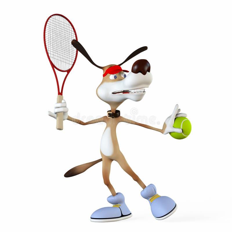 Illustratie over een onderwerp een hond de tennisspeler. stock illustratie