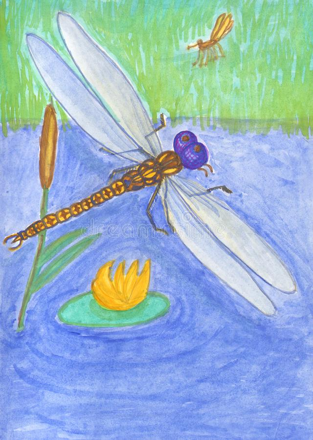 Illustratie over het leven van insecten in de vijver Libel en mug royalty-vrije illustratie