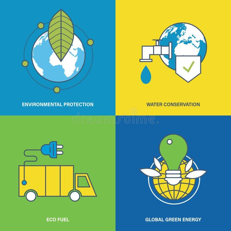 Illustratie over milieubescherming en behoud van natuurlijke rijkdommen stock illustratie