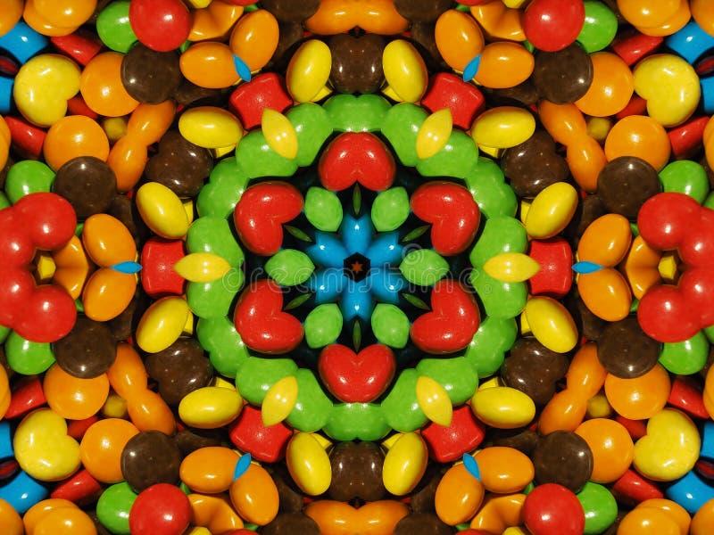 Illustratie, Partij van kleurrijke chocoladedalingen vector illustratie