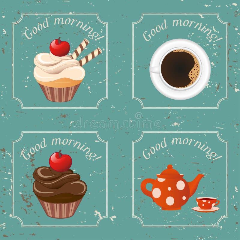 Illustratie - Retro illustratie met thee, cupcakes en een kop o vector illustratie