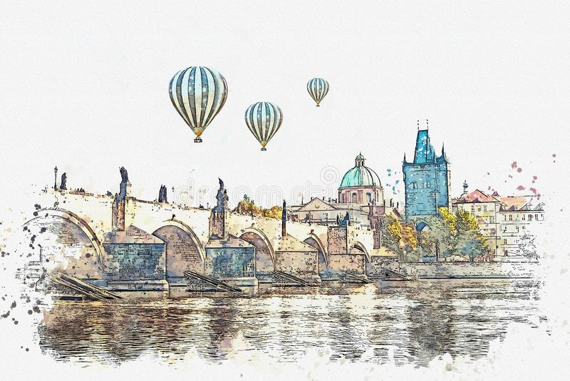 Illustratie Traditionele oude architectuur in Praag royalty-vrije illustratie