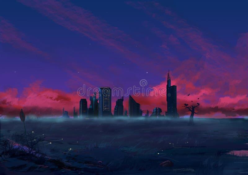 Illustratie: Troosteloze outskirt van de Stad vector illustratie