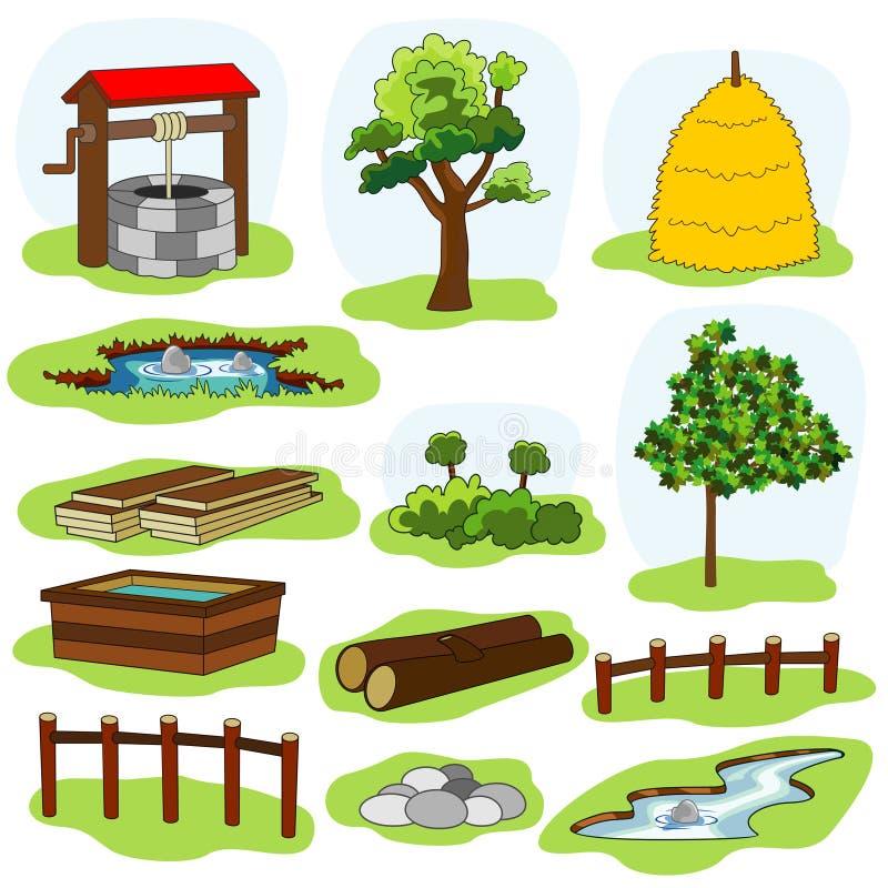 illustratie van aard en dorpselementen vector illustratie