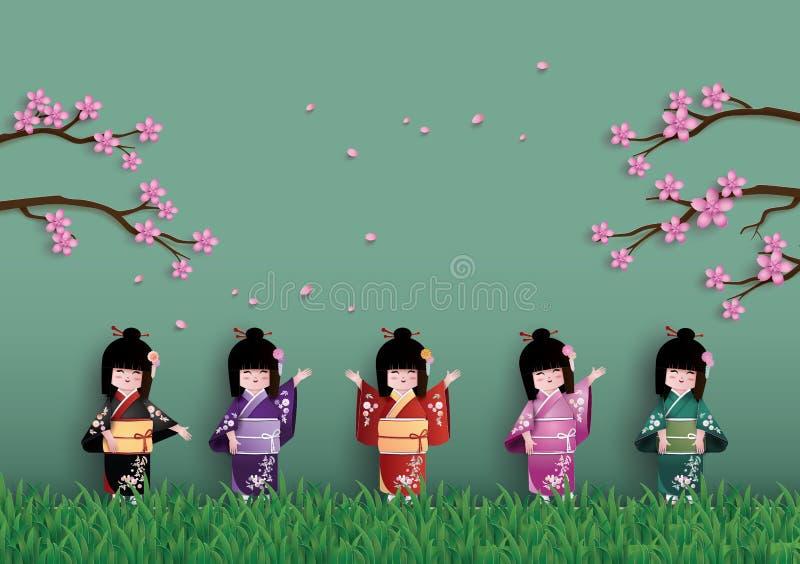 Illustratie van aard met lentetijd royalty-vrije illustratie