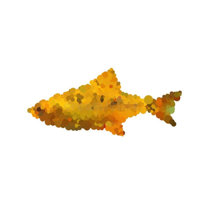 Illustratie van abstracte die mozaïekvissen op witte backgroun wordt geïsoleerd royalty-vrije stock afbeeldingen