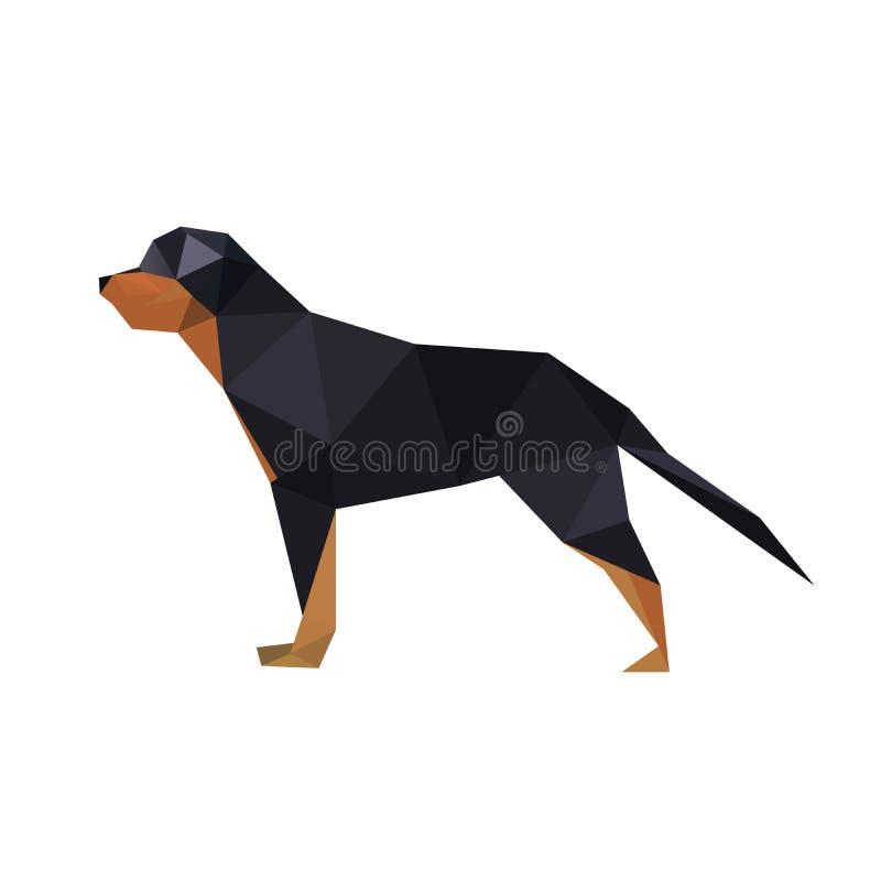 Illustratie van abstracte origami rotteweiler hond stock foto