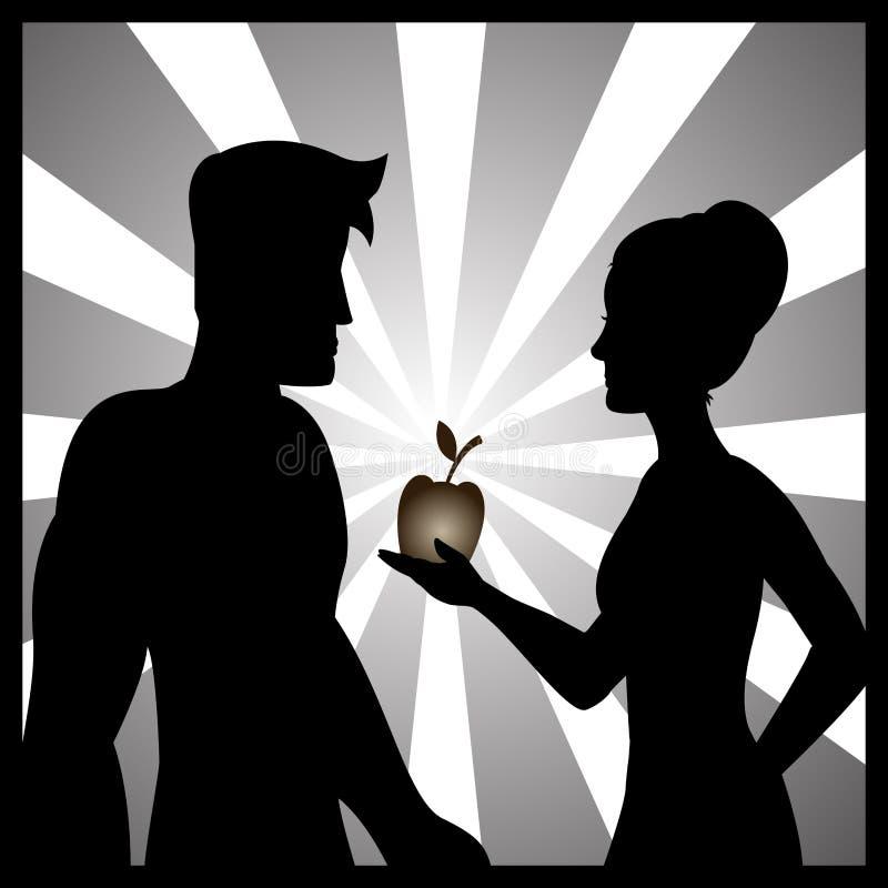 Illustratie van Adam en Vooravond met het verboden fruit stock illustratie