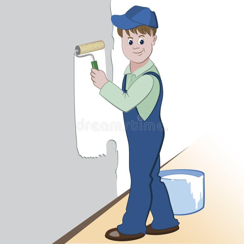 Illustratie van arbeider met rol en verf die de muur schilderen (het schilderen de dienstenontwerp) stock illustratie