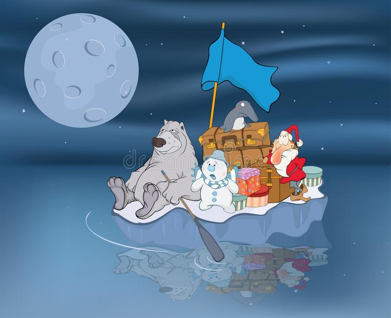 Illustratie van Avonturen van Santa Claus en zijn vrienden stock fotografie