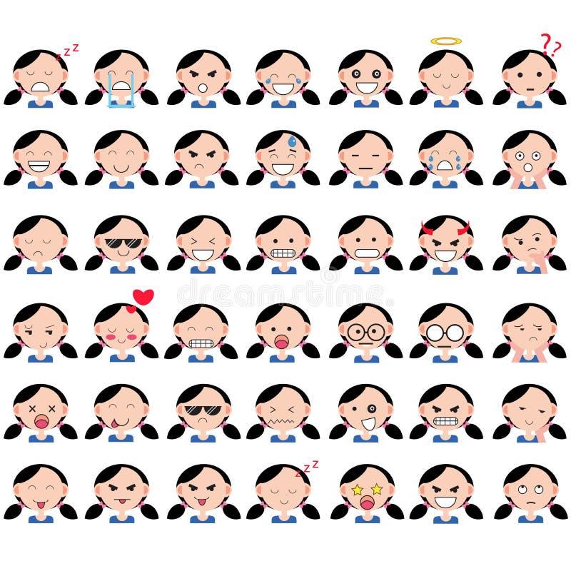 Illustratie van Aziatische leuke meisjesgezichten die verschillende emoties tonen De vreugde, droefheid, woede, grappig spreken,  vector illustratie