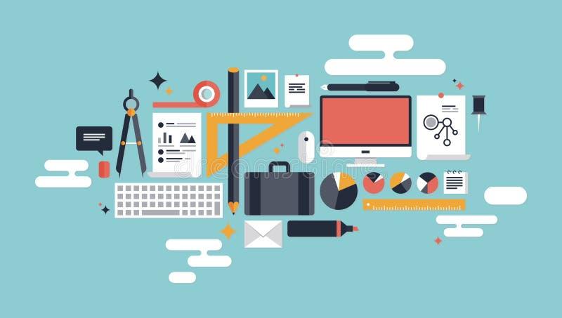 Illustratie van bedrijfs werkende elementen stock illustratie