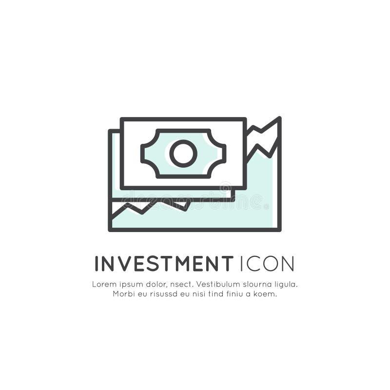 Illustratie van Bedrijfsvisie, Investering, Beheersproces, Financiënbaan, Inkomen, Opbrengstbron, Marketing Vaardigheid royalty-vrije illustratie