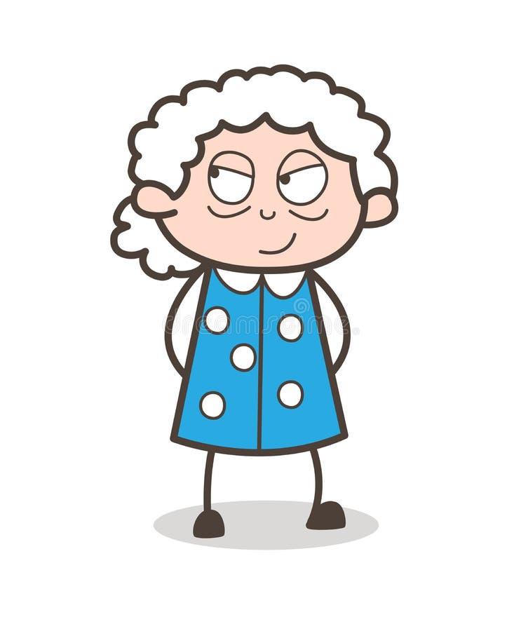 Illustratie van beeldverhaal de Slimme Oude Dame Face Expression Vector stock illustratie