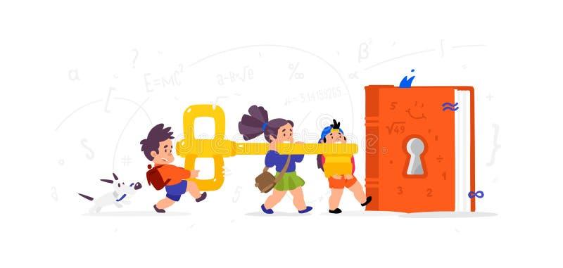 Illustratie van beeldverhaalkinderen Vector vlakke illustratie De kinderen openen een boek, kennis Kinderen\ 's Bibliotheek De sl stock illustratie