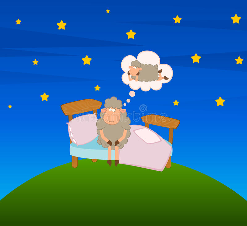 Illustratie van beeldverhaalschapen in bed vector illustratie