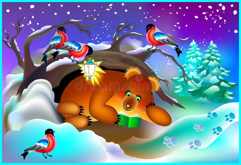 Illustratie van beer die een boek in een hol lezen tijdens de winter royalty-vrije illustratie