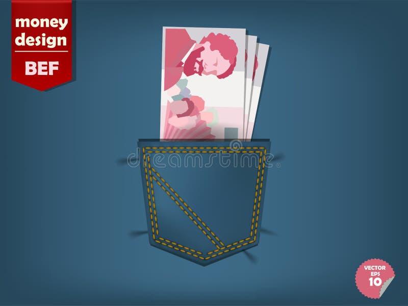 Illustratie van Belgisch frankgeld in de zak jeans stock illustratie