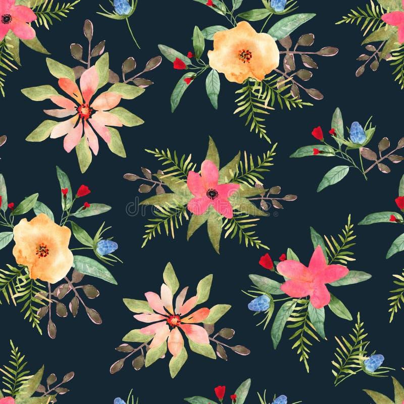 Illustratie van bloemen naadloos Hand getrokken mooie bloemen binnen royalty-vrije illustratie