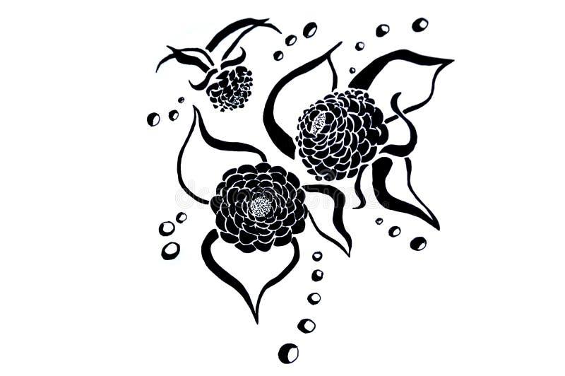 Illustratie van bloemen Schets voor tatoegering stock illustratie