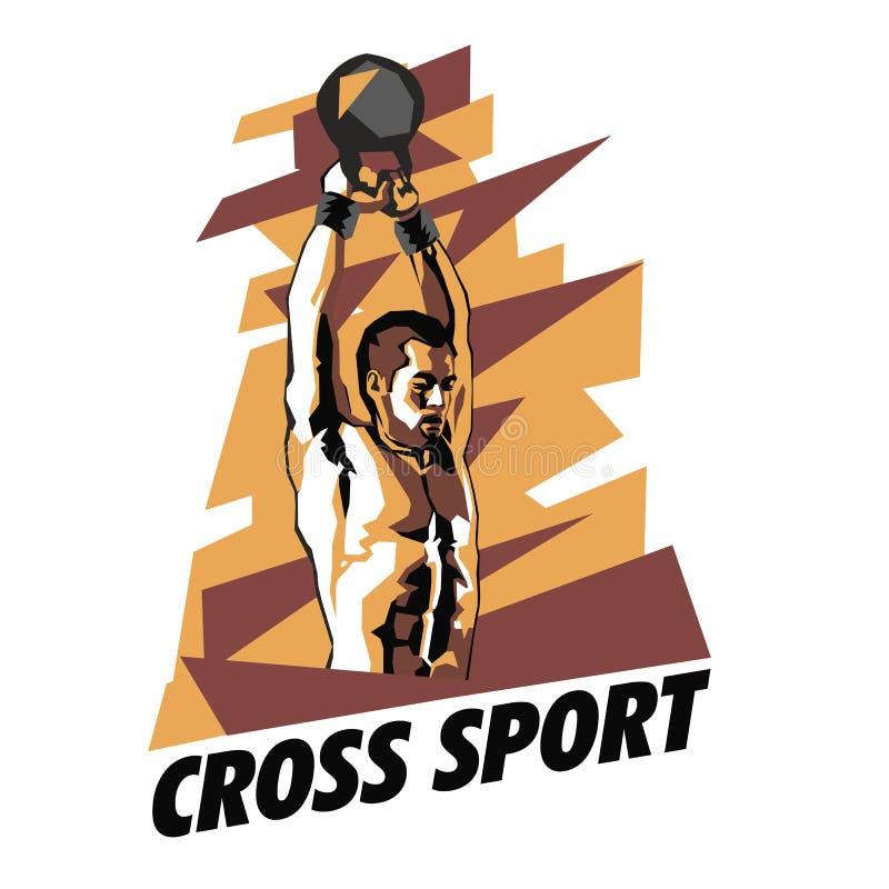 Illustratie van bodybuilder op een abstracte achtergrond Bodybuilding en crossfit affiche vector illustratie