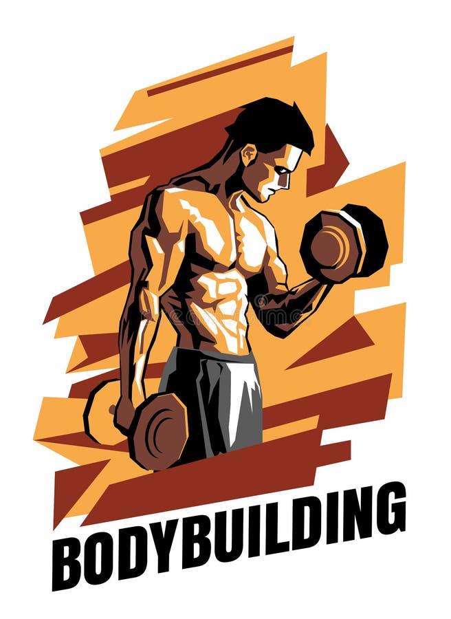 Illustratie van bodybuilder op een abstracte achtergrond Bodybuildingsaffiche royalty-vrije illustratie