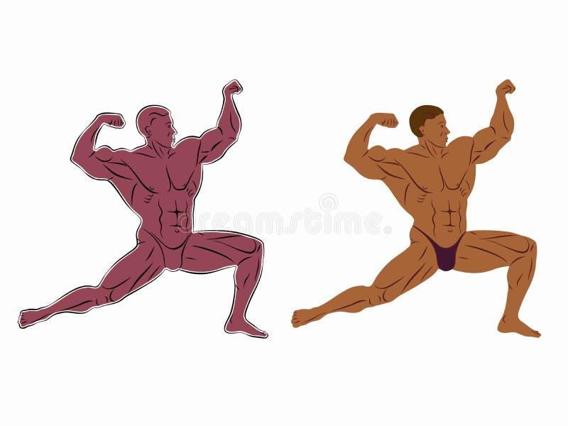 Illustratie van bodybuilder, vectortekening stock illustratie