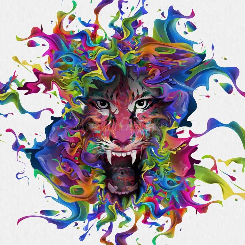 Illustratie van Boze tijger royalty-vrije illustratie