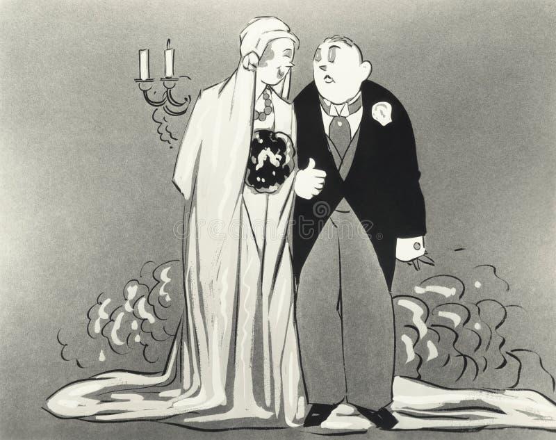 Illustratie van bruid en bruidegom stock illustratie