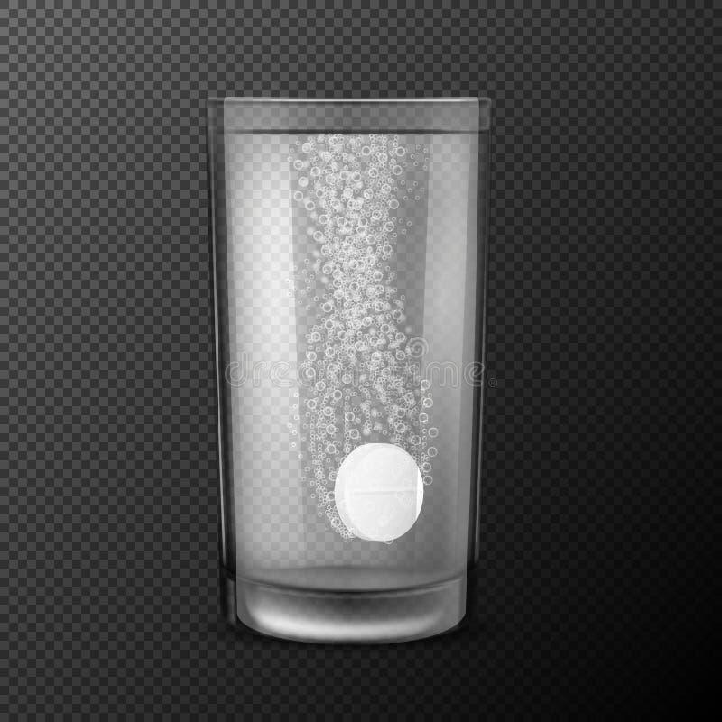 Illustratie van bruisende tabletten, oplosbare pillen die in een glas met water met bruisende die bellen vallen op a worden geïso royalty-vrije stock afbeelding
